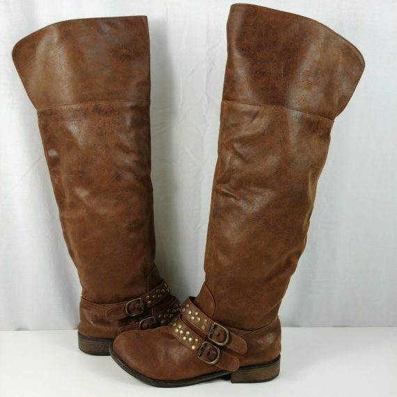 womens-darelle-boots-brown-casual-knee-high-buckle-straps-round-toe-size-8-5