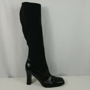womens-vero-cuoio-italian-black-leather-w-fabric-boots-shoes-size-8-5-m-eur-56