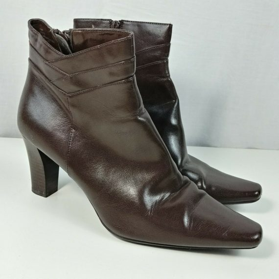 worthington-ankle-boots-brown-us-size-9-5-m-3-stacked-heel-pointed-zipper