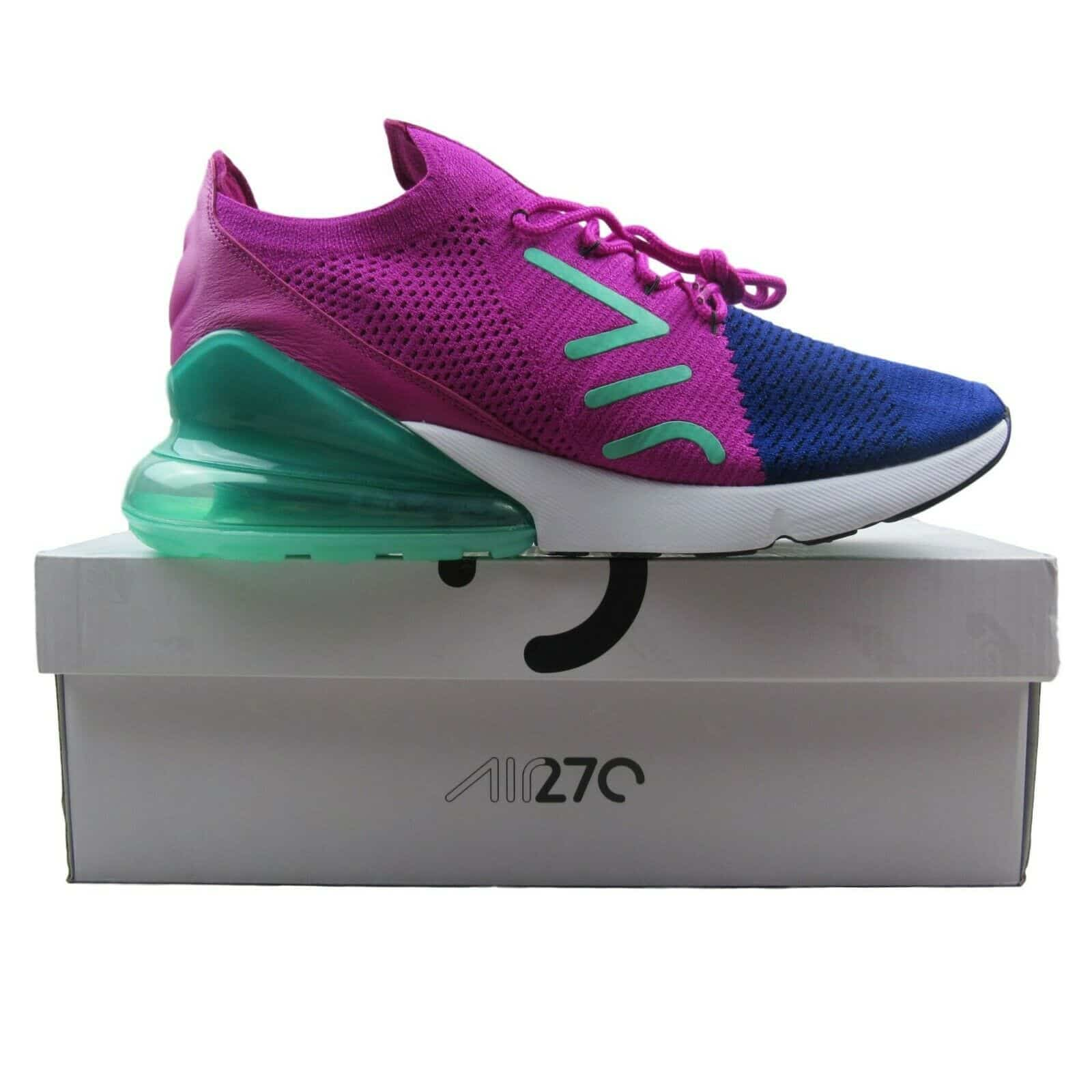 2a89aa91ba Nike Air Max 270 Flyknit Size 11 Mens Running Shoes Blue Purple New ...