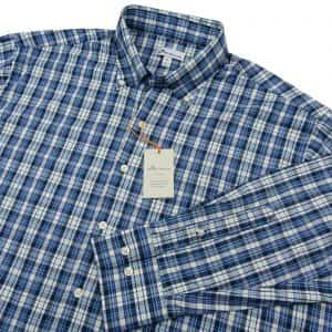 peter-millar-crown-summer-comfort-check-blue-purple-sport-shirt-size-xl-new