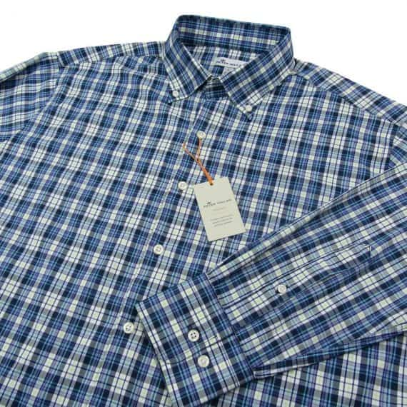 peter-millar-crown-summer-comfort-check-blue-sport-shirt-size-large-new
