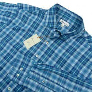 peter-millar-crown-summer-comfort-check-plaid-blue-sport-shirt-large-new