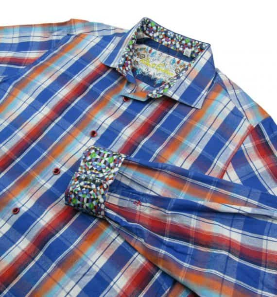robert-graham-blue-multi-plaid-sport-shirt-mens-size-xl-flip-cuffs-classic-fit