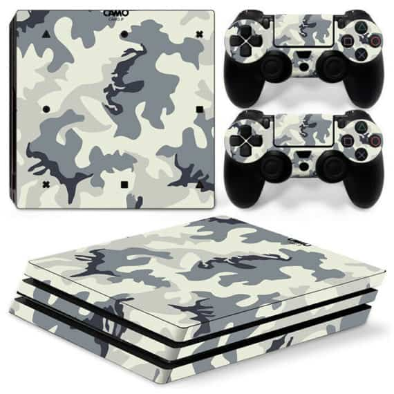 sony-ps-pro-white-camo-console-controllers-decal-vinyl-skin-wrap-sticker