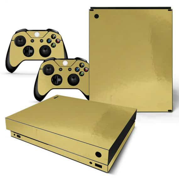 xbox-one-x-skin-console-controllers-gold-glossy-finish-vinyl-decal-wrap