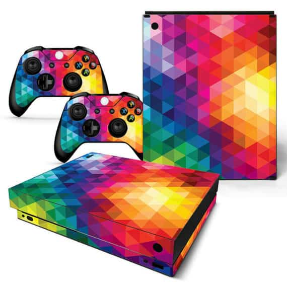 xbox-one-x-skin-console-controllers-neon-triangle-decal-vinyl-wrap