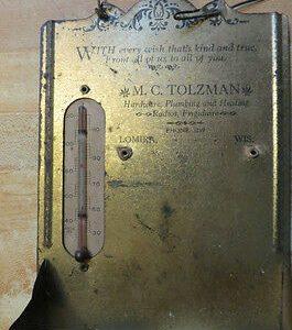 antique-advertising-thermometerwood-match-holderlomira-wis-m-c-tolzman-tin