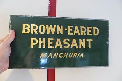 antique-porcelain-brown-eared-pheasantmanchuria-hunting-club-game-farm-sign-vtg