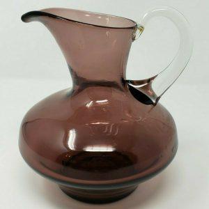 blown-glass-amethyst-purple-pitcher-w-clear-handle-iced-tea-water-art-decor