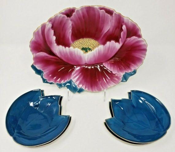 fukayawa-arita-hand-painted-lotus-flower-dish-w-little-serving-plates-japan