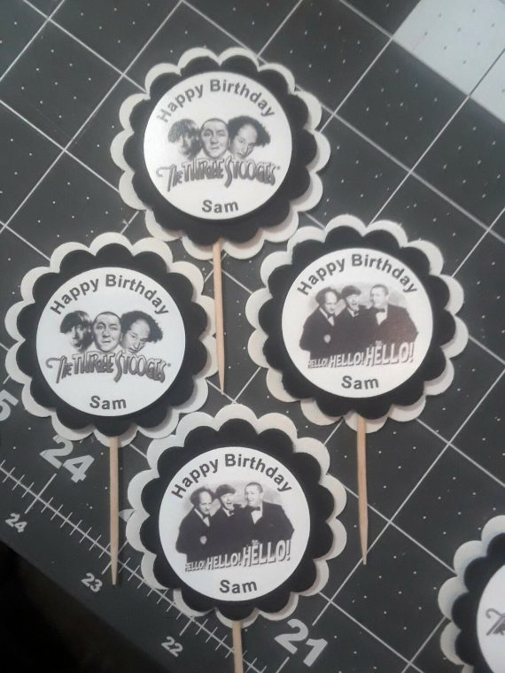 The Three Stooges Party Custom cupcake toppers set of 12 Personalized