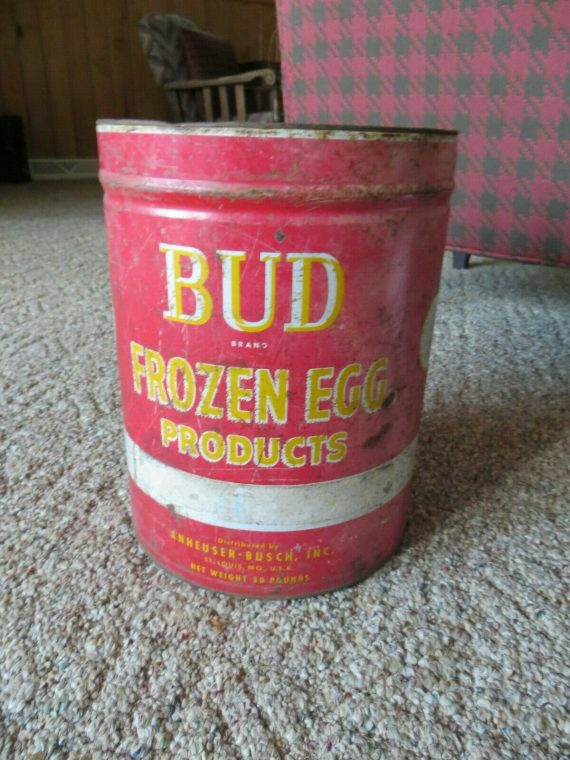 antique-bud-brand-frozen-egg-productsanheuser-busch-inc-steel-can-advertising