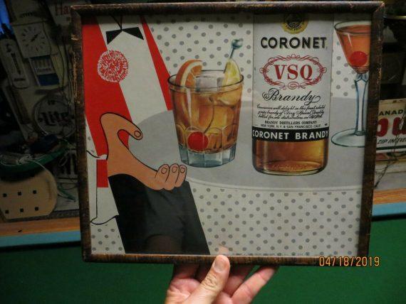 butler-holding-coronet-vsq-brandy-litho-advertising-glass-framed-sign