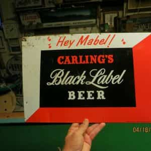 hey-mabelcarlings-black-label-beer-tin-over-cardboard-sign-brewing-corp