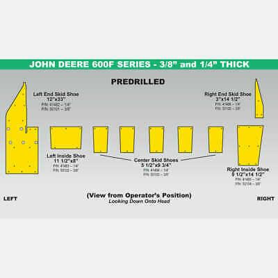 "John Deere 600FD Skid Shoe Set - 35' Yellow 3/8"" – 90075 – (2013-2014)"
