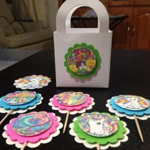 lisa-frank-birthday-party-supplies-cupcake-toppers-treat-bags-stickers
