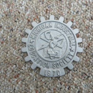 michigan-industrial-education-society-metal-trivit-advertising-emblem-sign