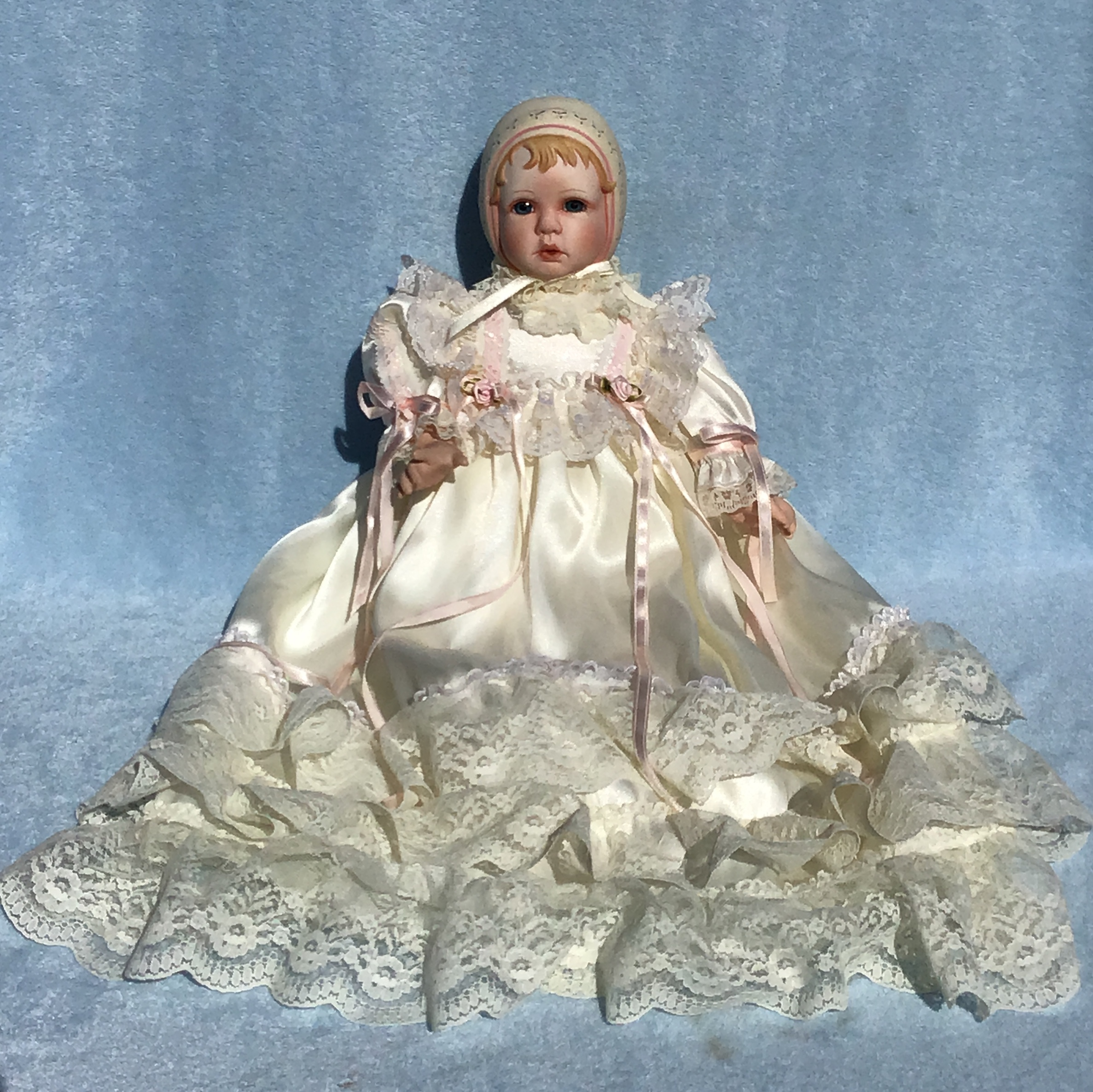 Rebecca Sculpted Bonnet Porcelain Doll by Michelle Severino Limited Edition  from Seymour Mann