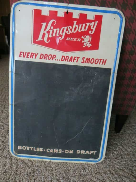 s-kingsbury-beer-menu-board-metal-green-back-advertising-promo-tavern-sign