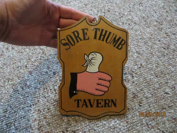 sore-thumb-tavernadvertising-wood-plaque-sign-wall-hanger-vtg