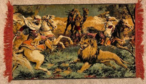 tapestry-wall-hanging-arabian-men-fighting-lion-on-horseback-vintage-fine-art