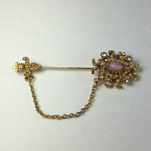 stick-pin-brooch-bow-fleur-de-lis-faux-opal-pearl-cz