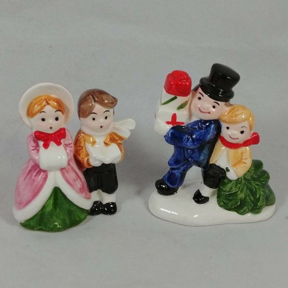 vtg-set-porcelain-christmas-ornament-labels-carolers-son-dad-cmc-japan