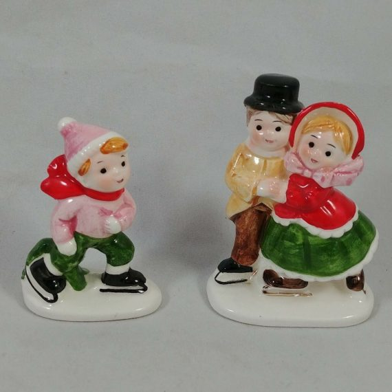 vtg-set-porcelain-christmas-ornament-labels-parents-child-skater-cmc-japan