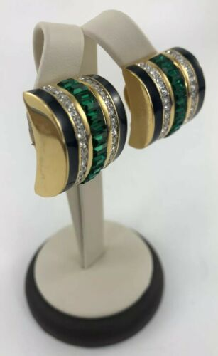 vintage-st-john-collection-clip-on-earrings-green-baguette-crystals-statement