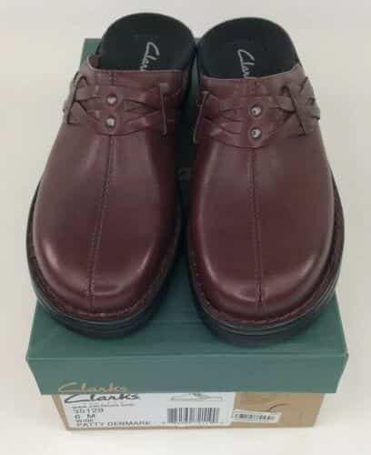 new-clarks-wine-red-patty-denmark-slip-on-clog-shoes-size-in-box