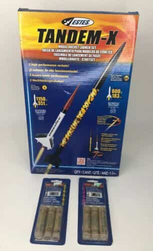 new-estes-set-tandem-x-amazon-crossfire-flying-model-rockets-engines