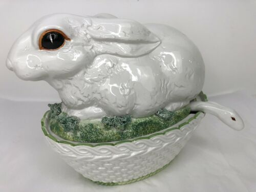 nora-fenton-bunny-rabbit-soup-tourine-gravy-boat-spoon-made-in-italy