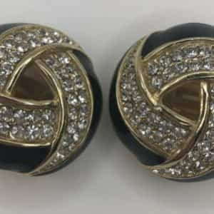 vintage-ciner-goldtone-round-rhinestone-black-enamel-art-deco-clip-on-earrings