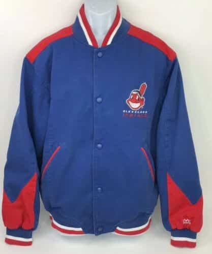vintage-cleveland-indians-chief-wahoo-mirage-mens-blue-jacket-coat-size-xl