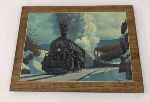vintage-howard-fogg-black-train-engine-postcard-winter-snow-wood-back-hanger