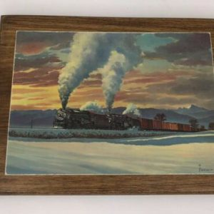 vintage-howard-fogg-postcard-black-train-engine-at-sunset-wood-backing