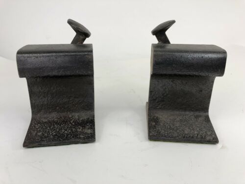 vintage-railroad-bookends-heavy-iron-nail-spike-anvil-blacksmith