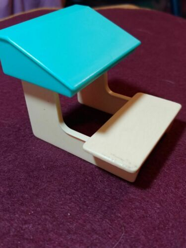 Kelly Doll Size  Student School Desk Blue and Cream 3 X 2.5 inch