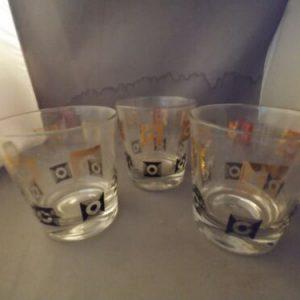 mid-century-modern-gold-black-s-drinking-glasses-retro-low-ball-qty