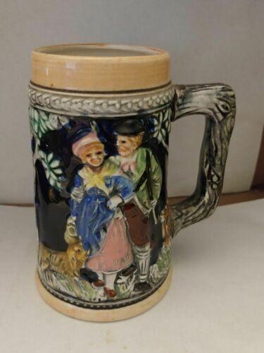 Vintage Ceramic Colorful German Style Beer Stein / Mug Made In Japan