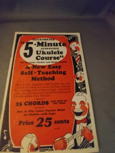Vintage Instructional Booklet -- Illustrated 5 - Minute Ukulele Course