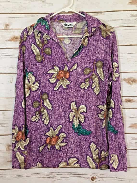 devon-shirt-size-large-purple-fruit-flower-vintage