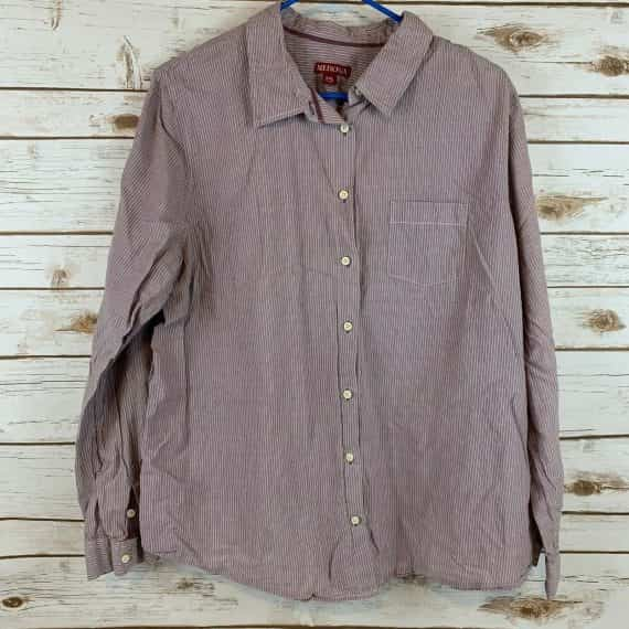 merona-tan-striped-shirt-size-xxl-blouse-button-front