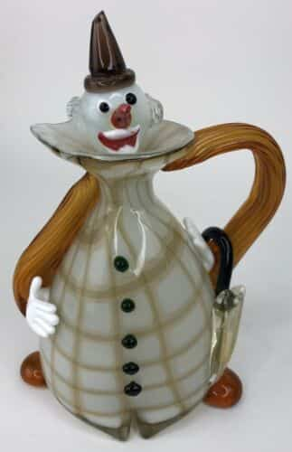 murano-hand-blown-italian-glass-clown-decanter-pitcher-with-handle-no-damage