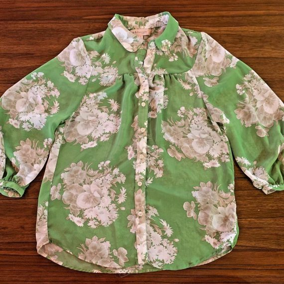philosophy-republic-clothing-blouse-green-floral-lightweight-shirt-small
