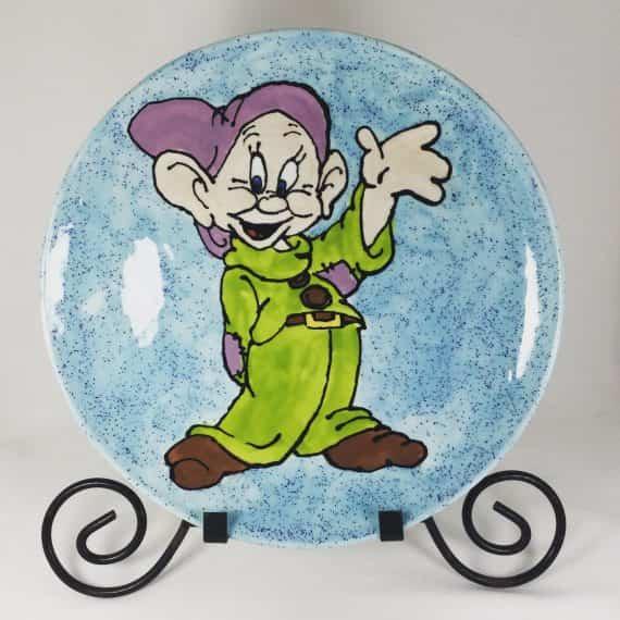 disney-dopey-artist-signed-ceramic-plate