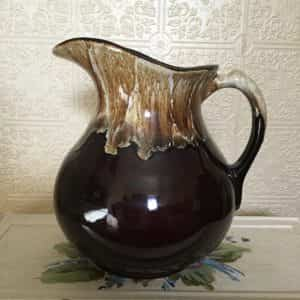 vintage-original-pottery-class-brown-drip-glaze-water-pitcher