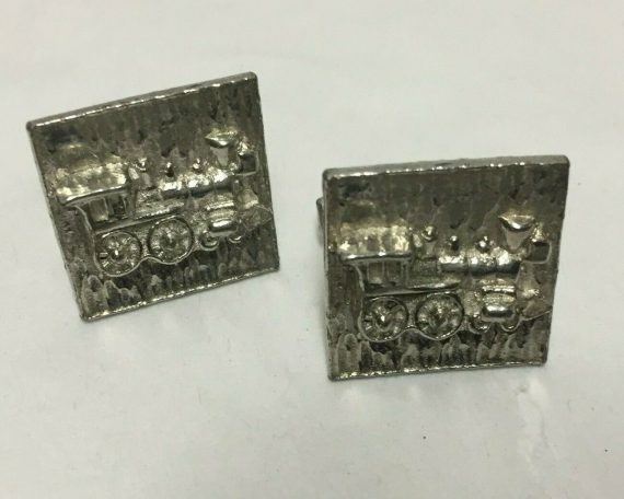 cufflinks-steam-engine-train-silver-tone-vintage