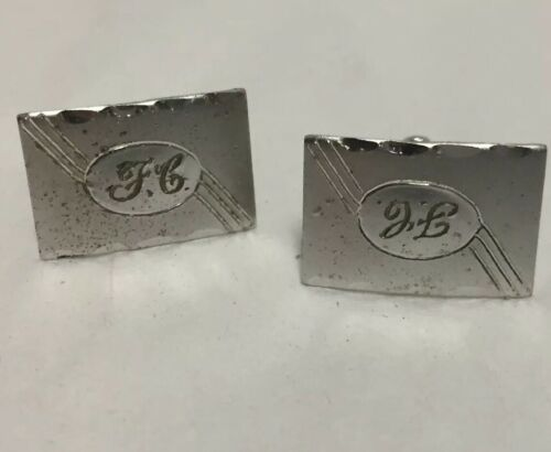 silver-tone-cufflinks-engraved-jc-vintage-swivel-t-back